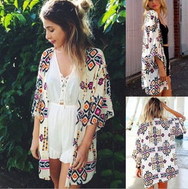 Europe and the United States printed chiffon cardigan bat sleeve beach skirt bikini cover swimsuit shirt sunscreen clothing