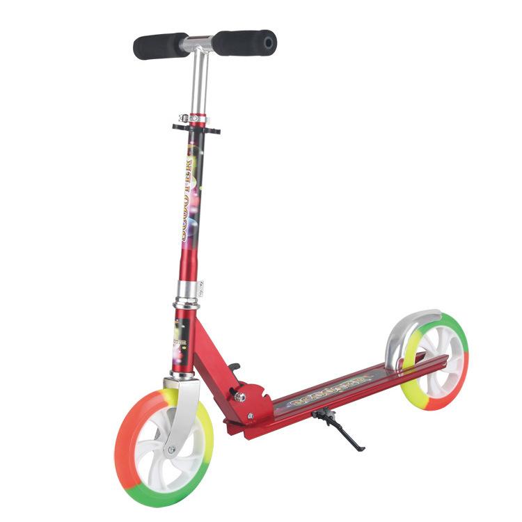 厂家直供儿童滑板车 三色彩色二轮脚踏滑滑车带停车支架滑板车