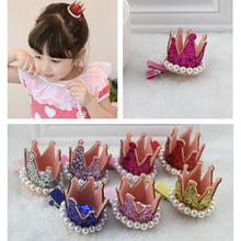 韩版儿童发饰头饰品 立体皇冠珍珠儿童发夹 2元店饰品9g