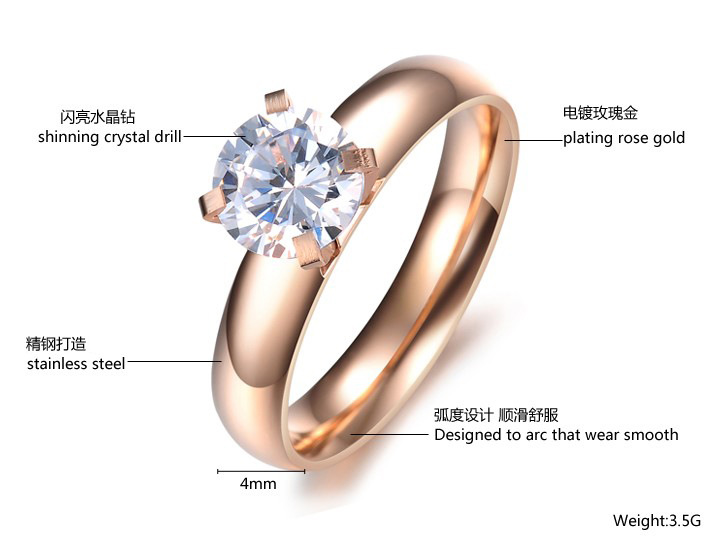 Korean version of Korean / Korean style Titanium steel Rhinestone Rings (GJ373 smooth rhinestone clamp ring section 5) NHOP0294
