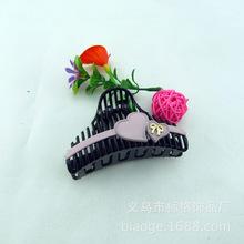 韩国新款果冻双色发抓 大号蝴蝶结黑色塑料夹子 精品头饰发饰批发
