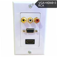 机顶盒莲花音视频VGA RCA音响HDMI高清免焊墙壁插座多媒体面板