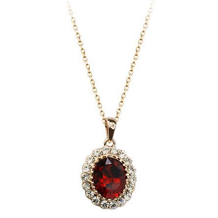Vintage fashion accessories with diamonds oval crystal pendant necklace beautiful jewelry NHLJ175931