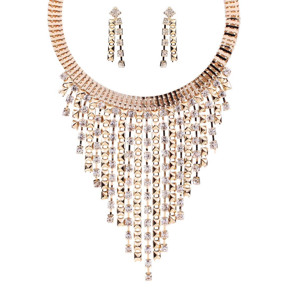 1 欧美新款高档奢华大牌时尚多层流苏镶钻项链耳环套装项圈饰品批