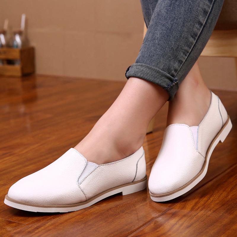 2018女鞋新款单鞋女士平底韩版透气套脚真皮休闲鞋小白鞋皮鞋批发