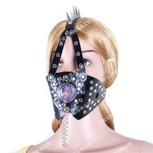 艾斯樂成人情趣黑色馬具型帶刺帶蓋日本同款口交口塞口枷堵嘴用品