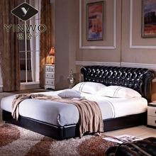 可梦 欧式真皮床储物水晶1.8婚床新古典黑色皮艺床双人床+床头柜