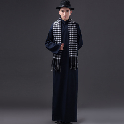 men chinese crosstalk robe drama film The May 4th movement of the ancient Republic of China cosplay long gown