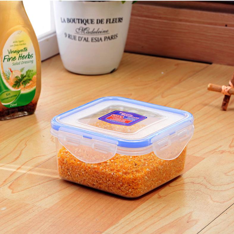 廠家直銷400毫升高透明食品級正方形保鮮盒 密封盒 微波盒