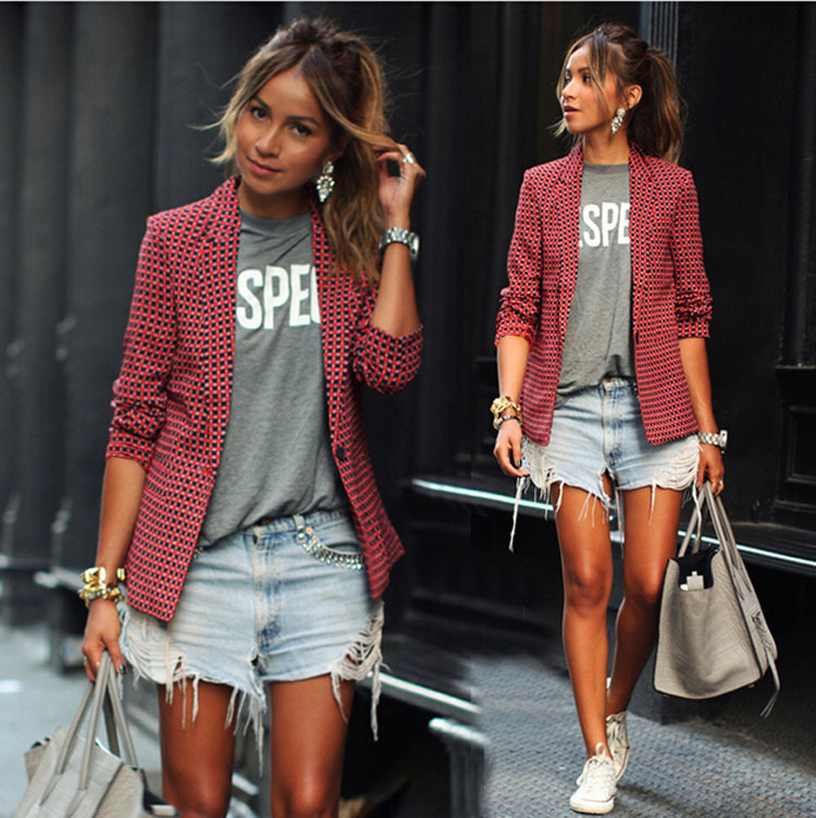 fashion casual women's red plaid long-sleeved lapel small suit jacket NSYF1142
