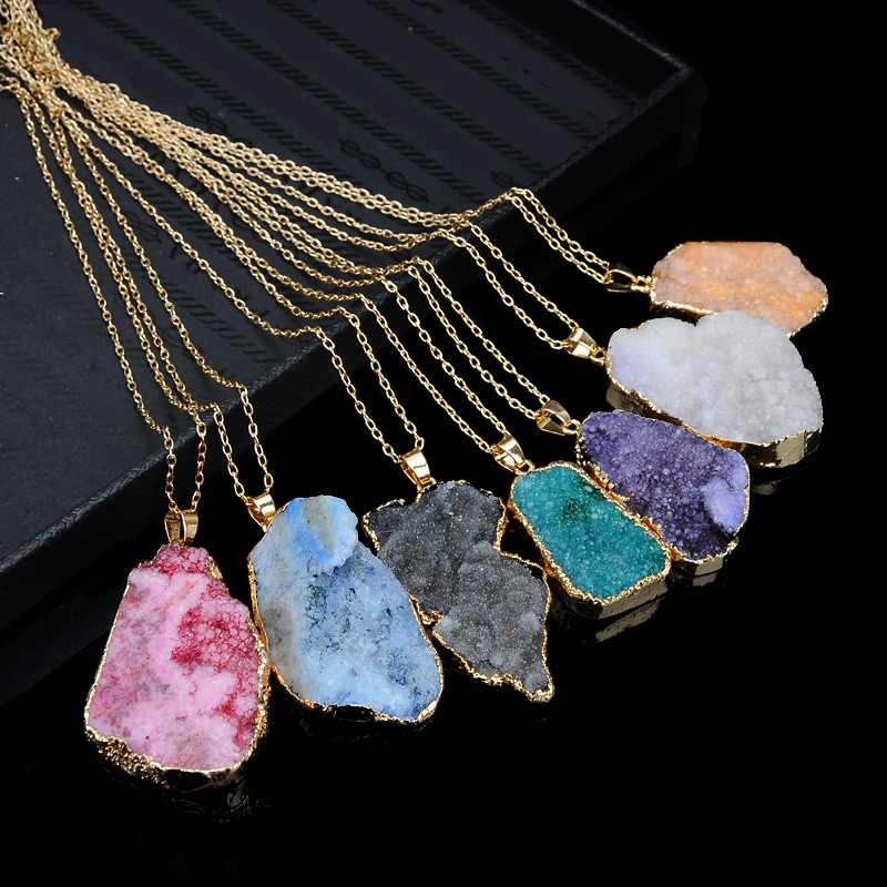Europe and the United States alloy plating necklace (Colorful color teeth small)NHGY0613-Colorful color teeth small
