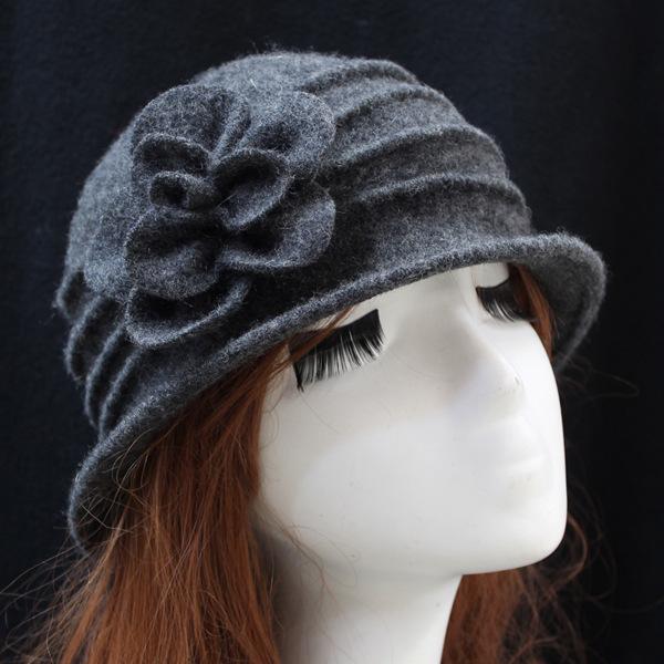 韩版羊毛盆帽 秋冬季女帽 优雅礼帽 速卖通跨境 羊毛呢妈妈帽子