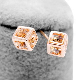 Regent Jewelry Jewelry Inlaid Hollow Cube Stud Earrings 86868
