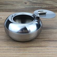 厂家直销烟灰缸定制logo 不锈钢 金属 便携式 带盖 防风 圆形