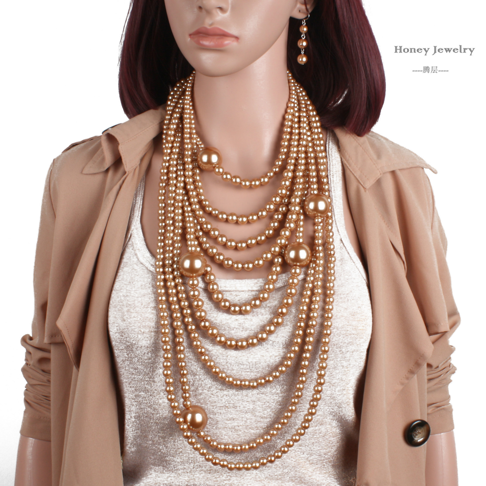 Occident and the United States pearlNecklace Set (Gold)NHCT0048-Gold
