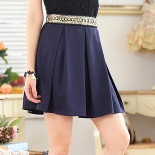 9644#Ding bead elegant pleated mid-skirt large size single skirt royal blue waist short skirt college