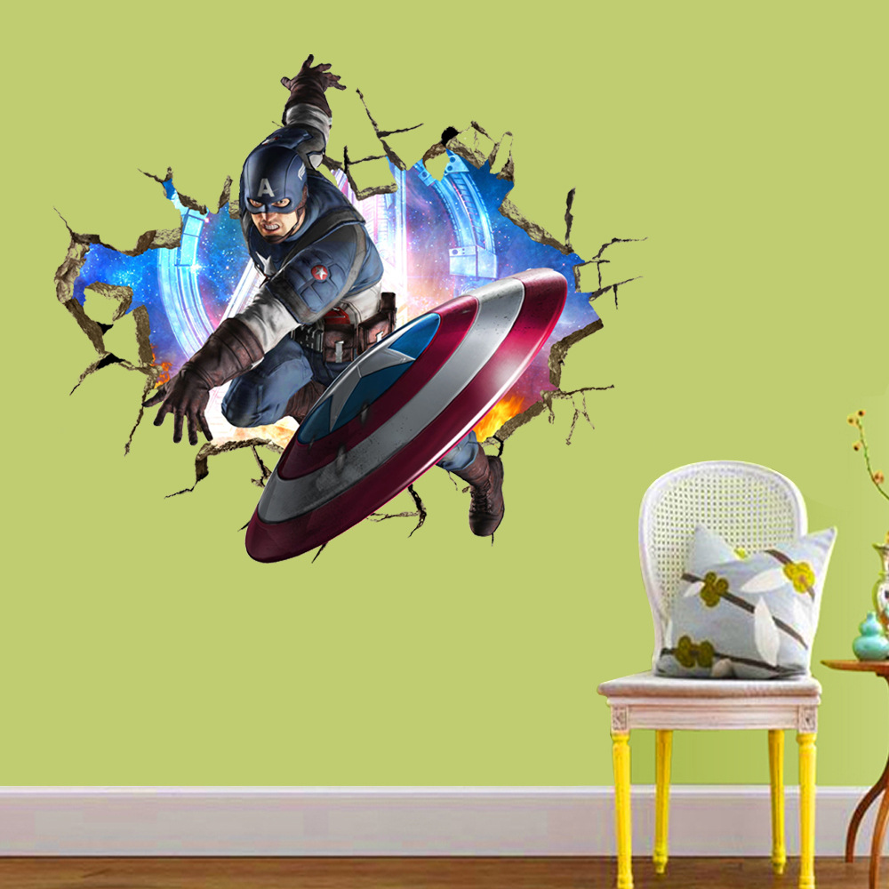 3d crack the avengers captain america kids room decor wall sticker does not apply amipublicfo Gallery