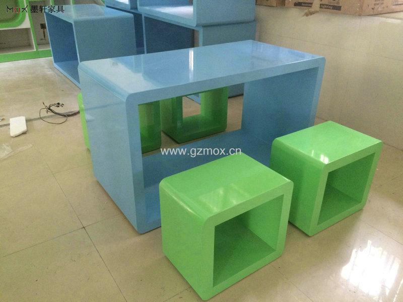 方形烤漆书桌 凳子