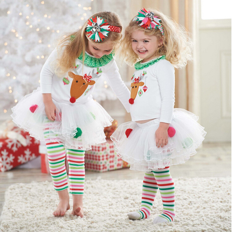 Christmas Kids Baby Girls Reindeer Tops +Tutu Pants Leggings Outfits Set  Clothes | eBay - Christmas Kids Baby Girls Reindeer Tops +Tutu Pants Leggings Outfits