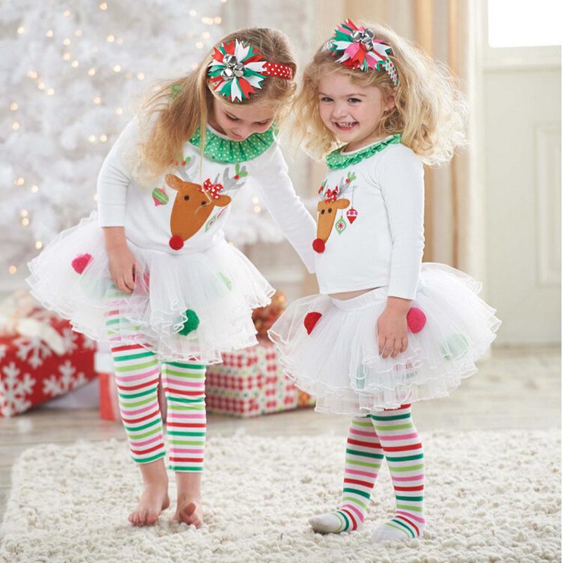 Unbranded - 2pc Kids Baby Girls Dress Christmas Party Long Sleeve Skirt+stripe