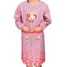韓式長款廣告圍裙 成人卡通罩衣長袖成人罩衣工作廚房圍裙 可定制