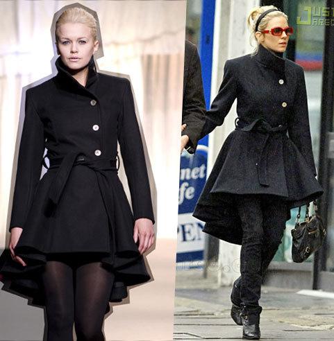 秋冬新款欧美风立领单排扣修身裙摆式毛呢大衣外套女一件代发