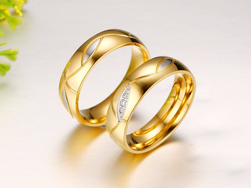 2018 Lovers Gold Color Titanium Stainless Steel Engagement Couple ...