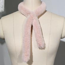 韩国秋冬季黑色獭兔毛毛领子毛绒围巾女韩版白色仿皮草小围脖套头
