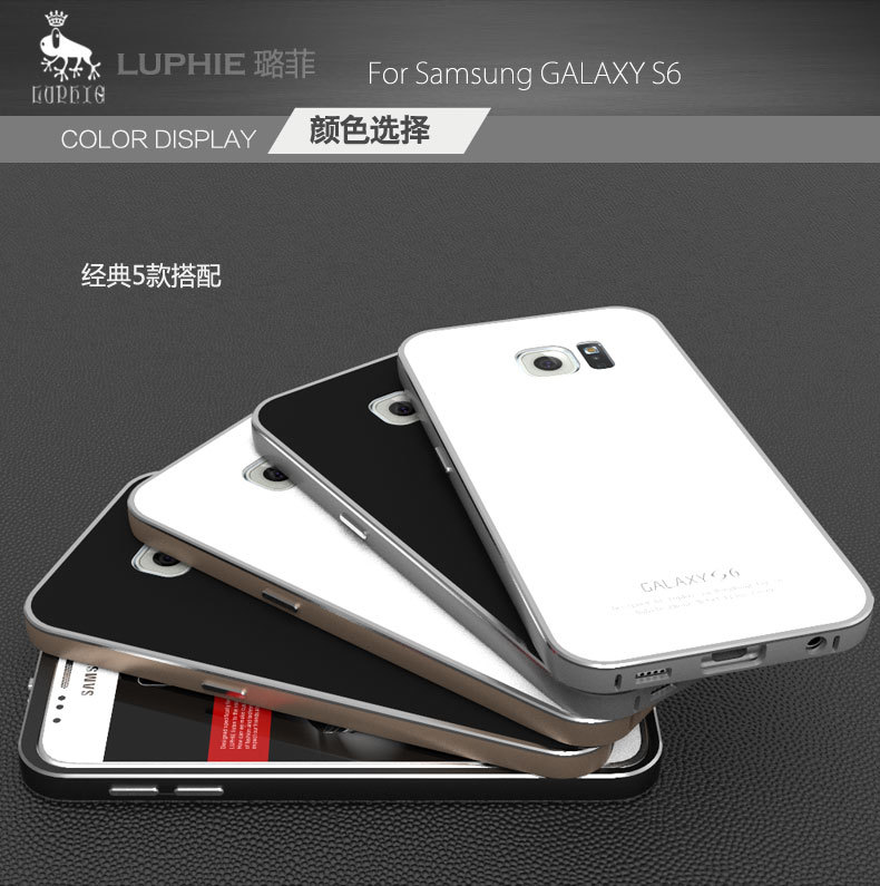 Luphie Aircraft Aluminum Metal Frame 9H Tempered Glass Back Cover Case for Samsung Galaxy S6 G9200
