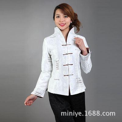 厂家批发米尼也女士改良唐装长袖上衣供应手工盘扣盘花春秋外套
