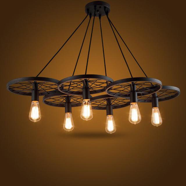 特价创意个性复古工业风车轮吊灯餐厅酒吧美式乡村铁艺灯具