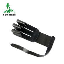 huwairen厂家供应射箭传统反曲弓箭用品 真牛皮 新款黑色三指护指