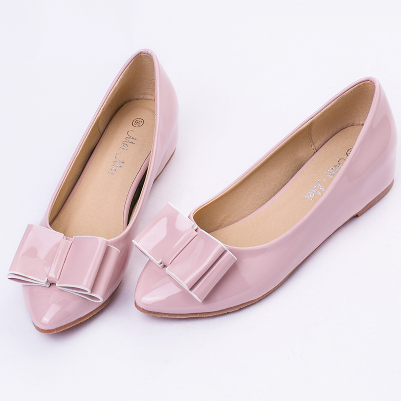 female bow shoes flat work with bottom OL a undertakes big yards footwear's main photo
