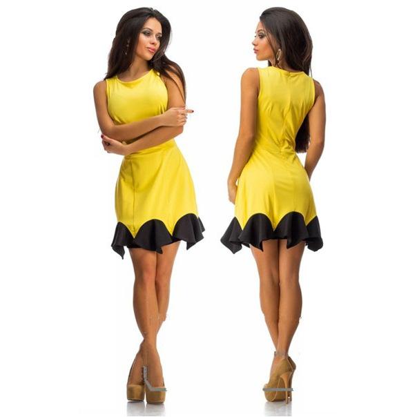 2016 Summer Sexy Women Dress O-Neck Backless Sleeveless Ruffles Dresses Club Evening Party Ladies A-line Mini Dress Plus size