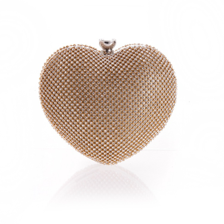 Female bag with diamond heart hand holding evening party bag NHYG174734