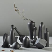 手工粗陶艺家居工艺品小花器摆件陶瓷花插现代铁陶釉花瓶定制批发
