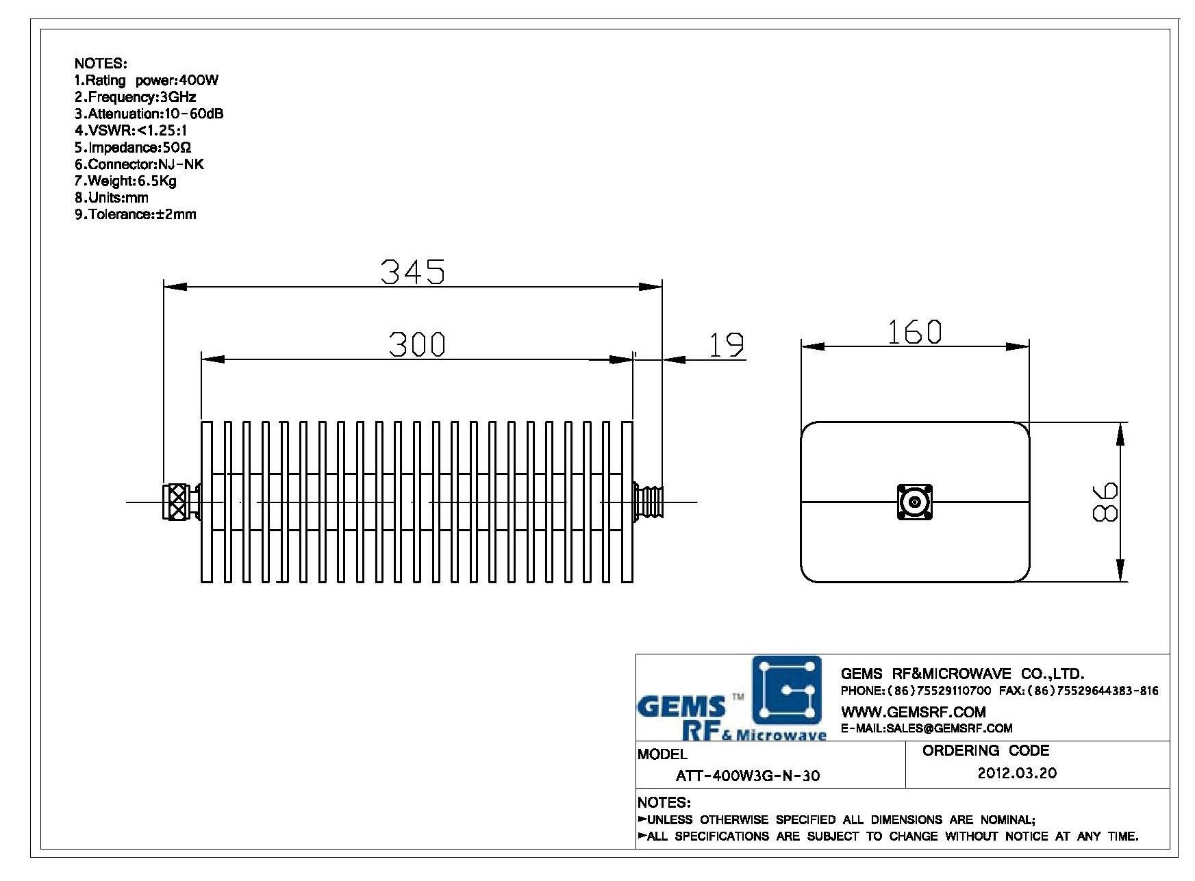 400W射频衰减器ATT-400W3G-N-30 DC-4GHz 6GHz射频同轴衰减器