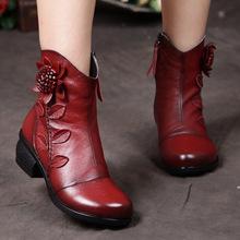 秋冬新款中筒女靴子手工民族风粗跟女鞋真皮女士棉靴一件代发