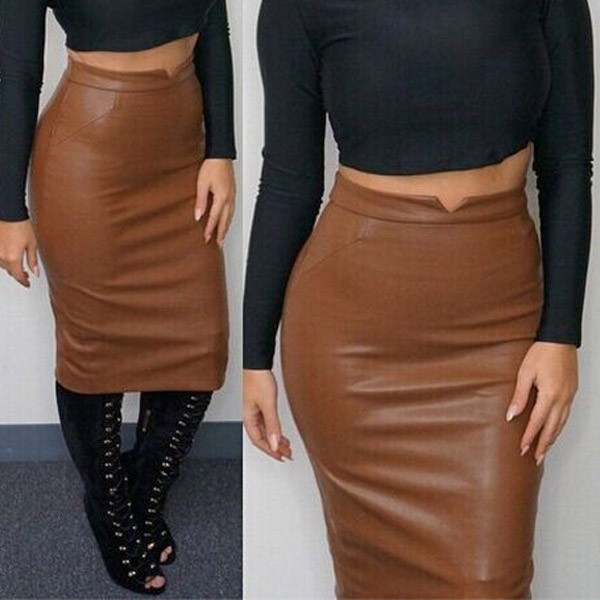 Hot Sale Women Soft PU Leather Skirt High Waist Slim Hip Pencil ...