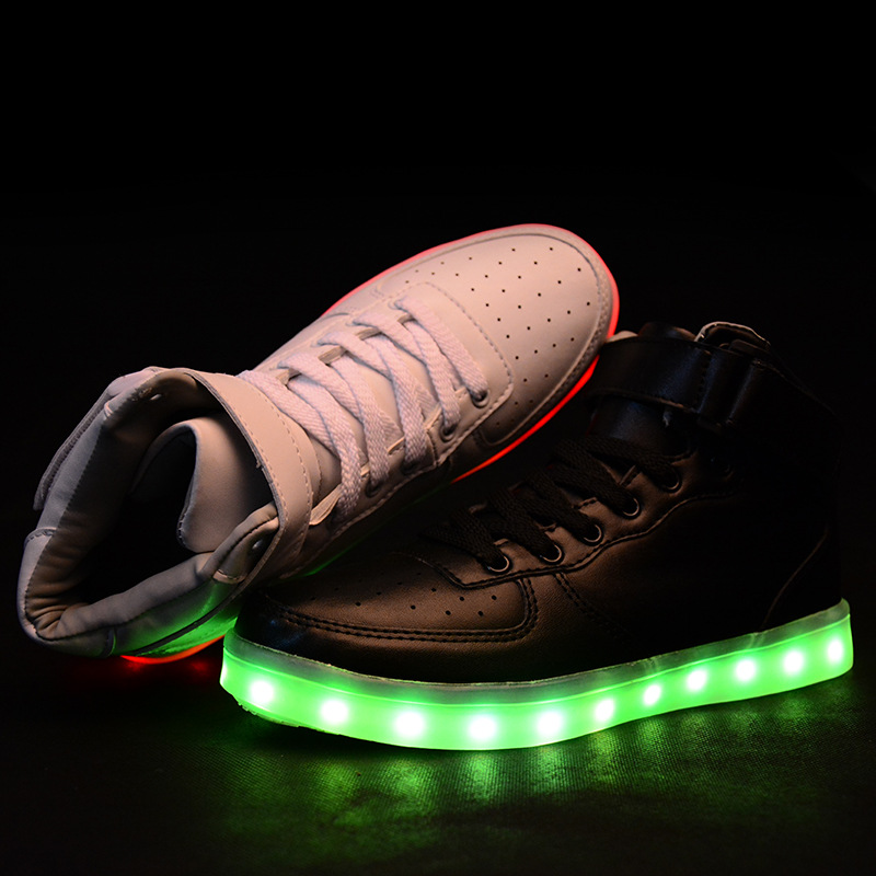 55f60664ce7 Men Women High Top LED Shoes For Adults White Black Glowing Light Up ...