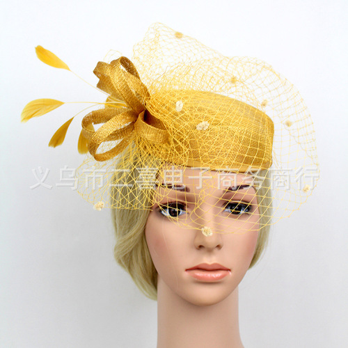 Party hats Fedoras hats for women Bridegroom hair accessories party performance feather hat retro headdress