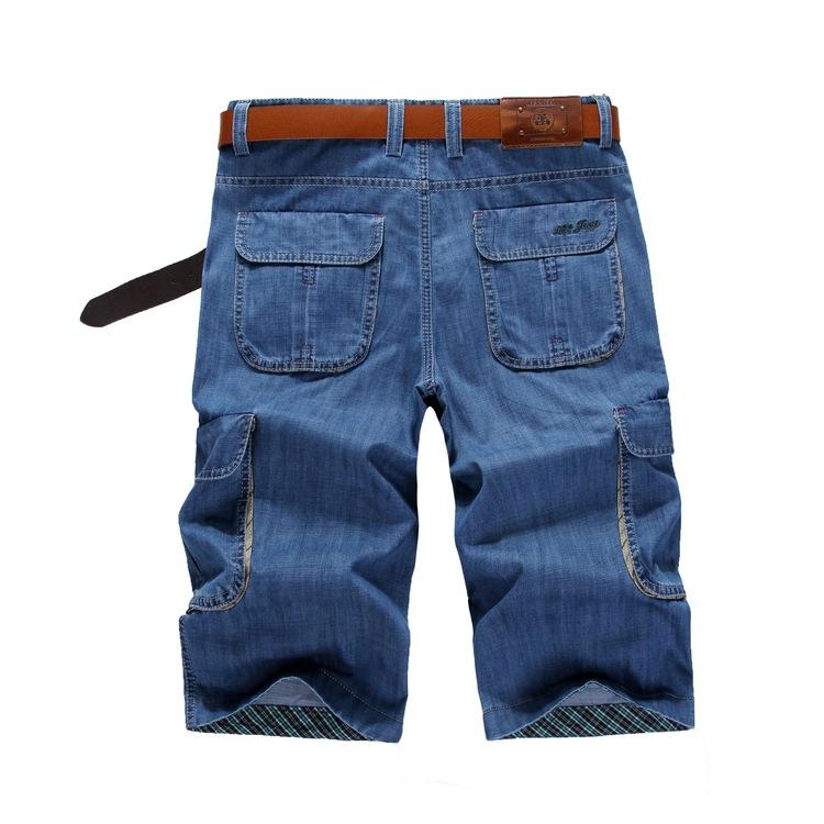战地夏季直筒宽松薄款七分牛仔中裤 工装裤多口袋男七分裤短裤