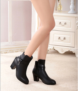 Fashion female boots British round head thick HEELS thick bottom Martin boots short canister boots