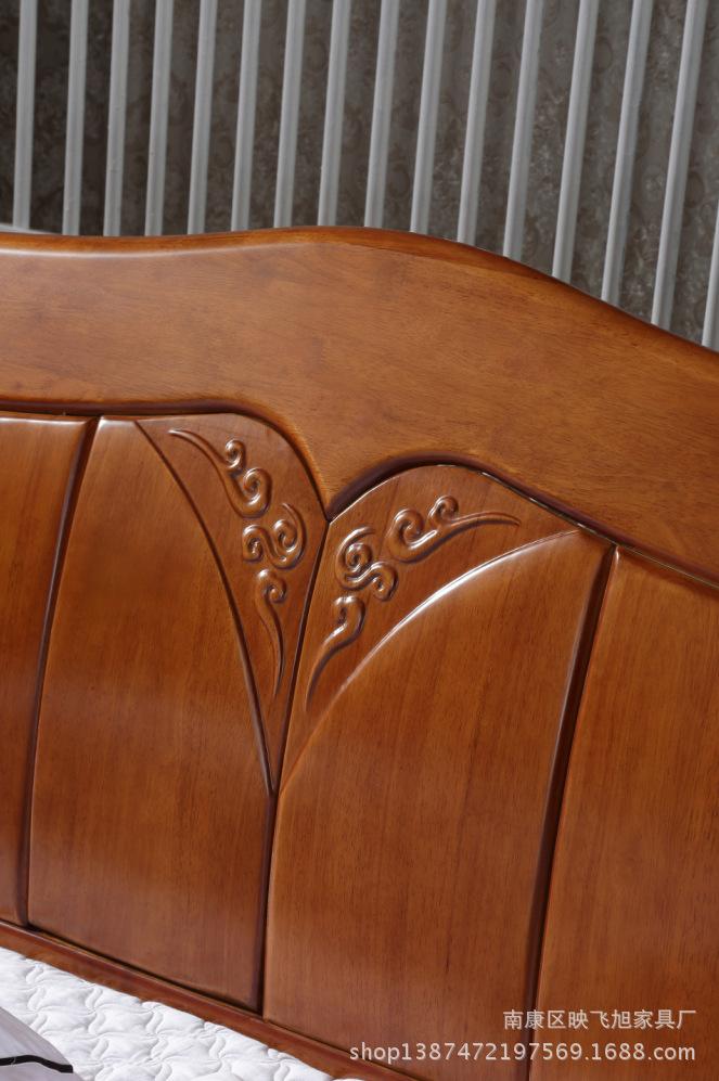 新品全实木床 橡木双人床现代简约高档卧室高箱储物床1.5/1.8米床