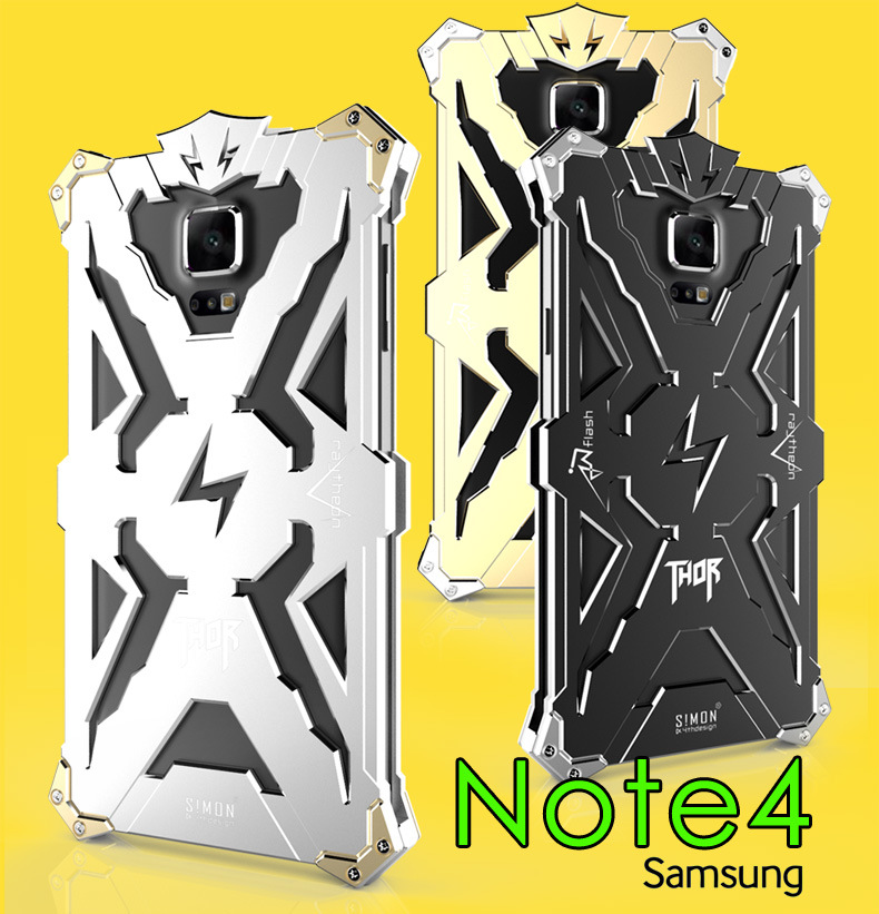 SIMON THOR Aviation Aluminum Alloy Shockproof Armor Metal Case Cover for Samsung Galaxy Note 4 N9100