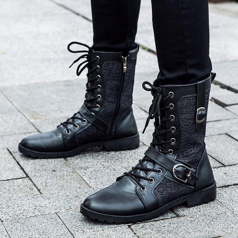 2018新款男士韩版马丁靴潮流英伦四季皮靴高筒高帮男靴军靴皮靴子