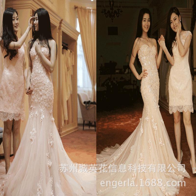 Engerla高端定制粉色鱼尾修身显瘦婚纱礼服外贸出口婚纱代理加盟