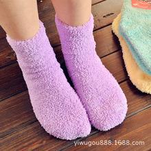韩版毛巾袜子女中筒糖果袜加厚地板毛绒袜 韩国女袜批发义乌袜子