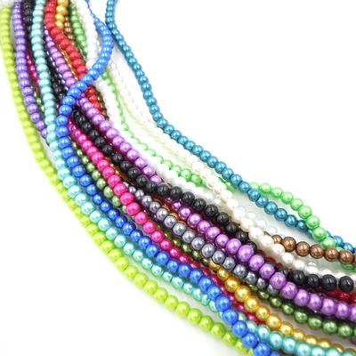 玻璃珍珠 6MM直孔圆批发diy手工串珠烤漆散珠 项链耳环材料特价