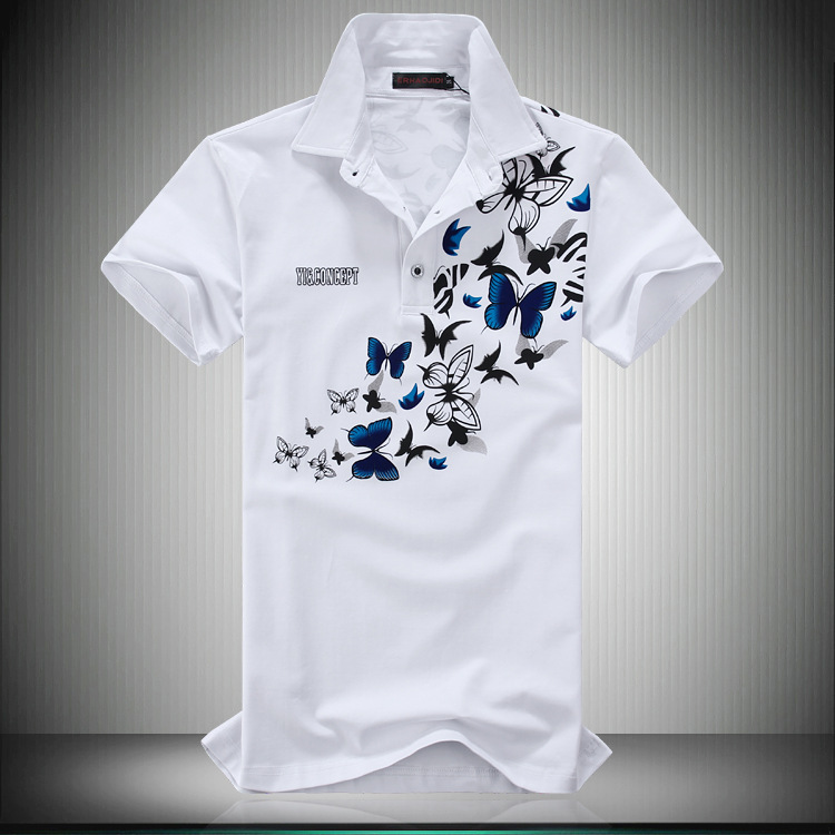 Summer new large men's short sleeve polo shirt business polo men's printed polo shirt wholesale purchase